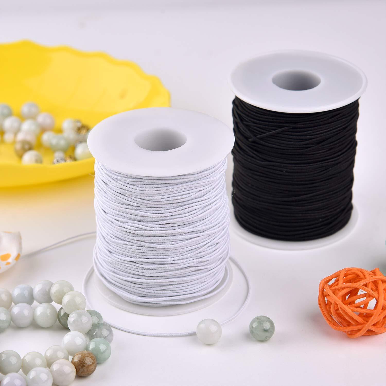 Zealor 2 Roll 1 mm Elastic String Cord Elastic Thread Beading String Cord  for Jewellery Making Bracelets Beading 100 Metres/Roll
