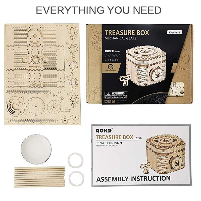 ROKR 3D Assembly Wooden Puzzle DIY Crafts Kit Fun Creative DIY Toy Treasure  Box Brain Teaser Mechanical Engineering Model Building Kits Educational