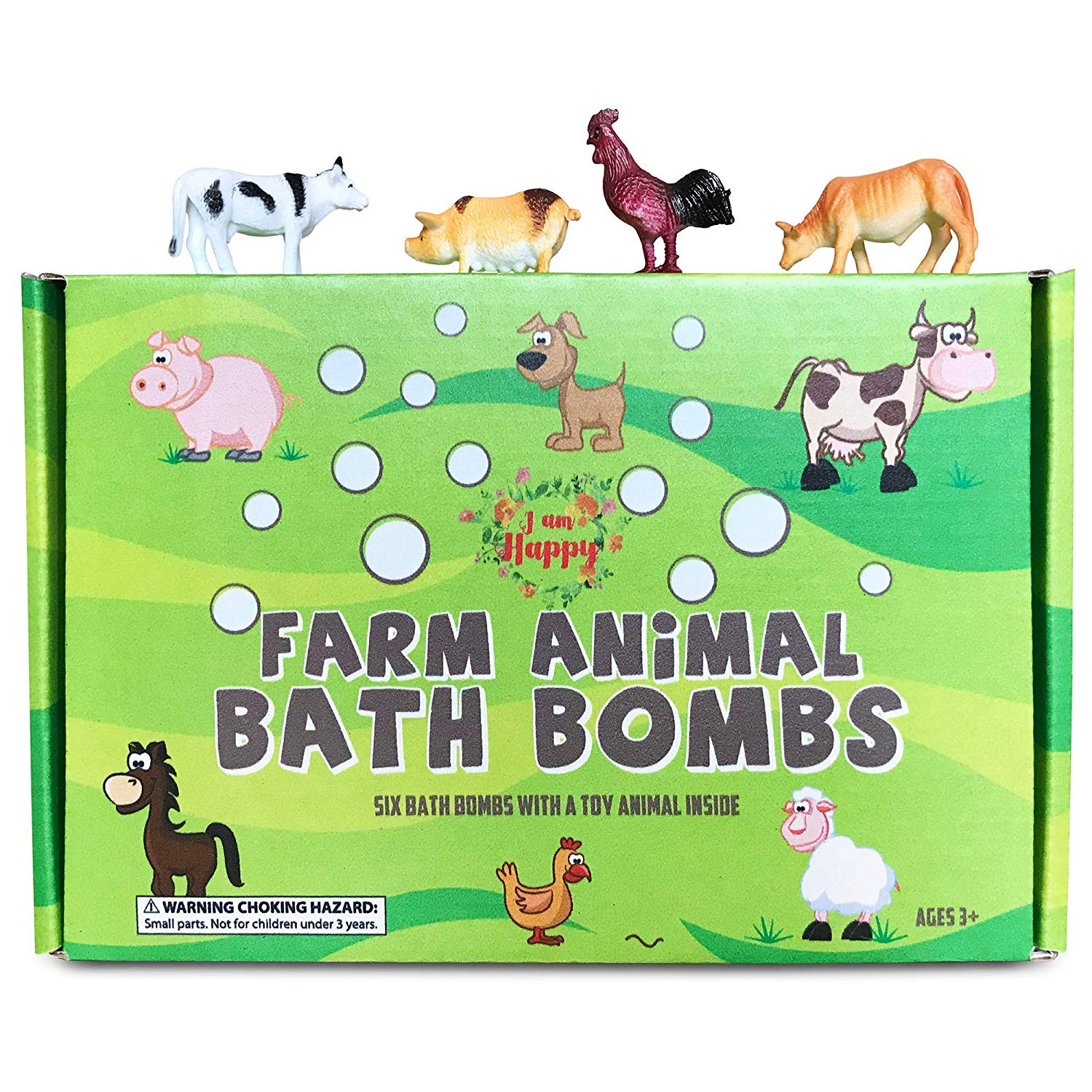 542763f7ad0b Kids Bath Bombs with Surprise Inside: Farm Animal Toys Inside, Great Gift  Set for Boys and Girls, Safe Ingredients that Don't Stain the Tub