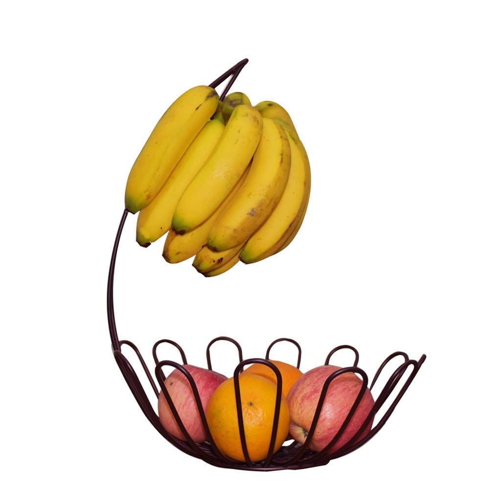 Fruit Bowl with Banana Hanger, Metal Wire Fruit Snacks Nuts