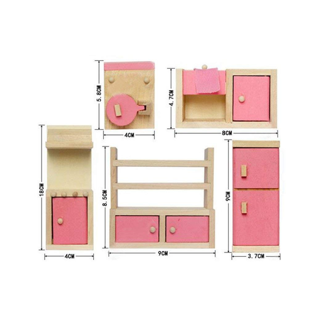 Kids Room for Dollhouse Pink Color with 4 Dolls Kunhe 4 Set