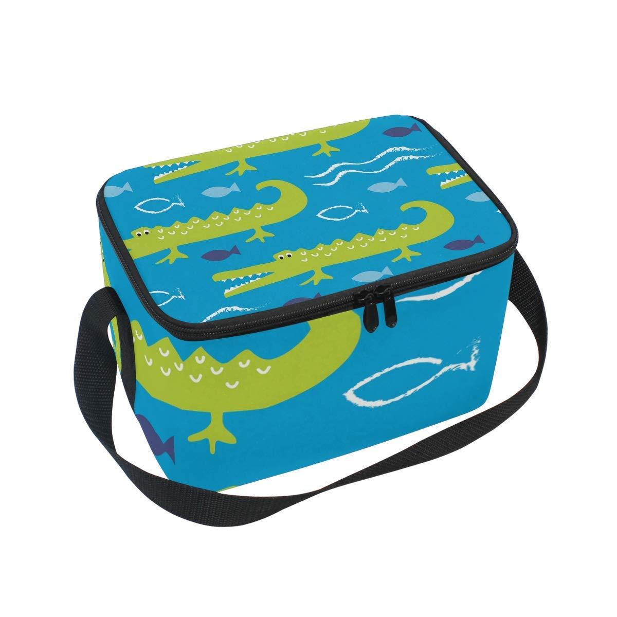 905b1ffef876 DEZIRO Cute Crocodile Kids Lunch Box Cooler Bag