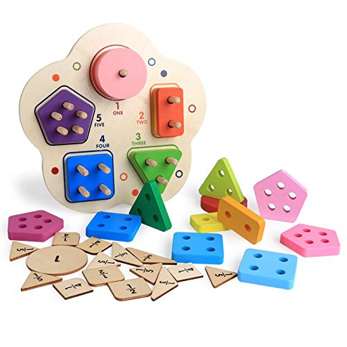 Bricks & Blocks Yimosecoxiang Wooden Geometric Shape Color Puzzles