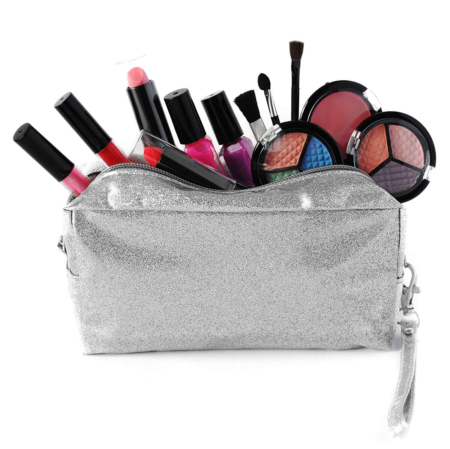 c074ddf495ab SmartEmily Washable Kids Makeup Set for Girls and Teens with Glitter  Cosmetics Bag Silver Edition
