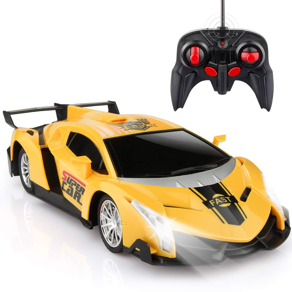 Remote Control Cars >> Growsland Remote Control Car Rc Cars Xmas Gifts For Kids 1 24 Electric Sport Racing Hobby Toy Car Yellow Model Vehicle For Boys Girls Adults With