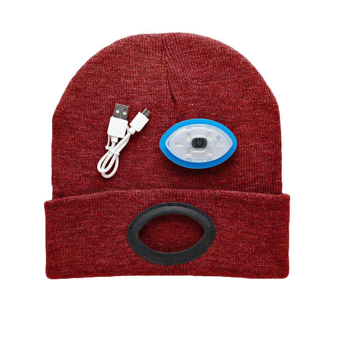e762f2bc ATNKE Running Light Hat,Built-In Rechargeable LED Head Lights, Hands Free 6  LED Headlamp Beanie Cap with High Speed USB Android Charging Cable, Great  ...