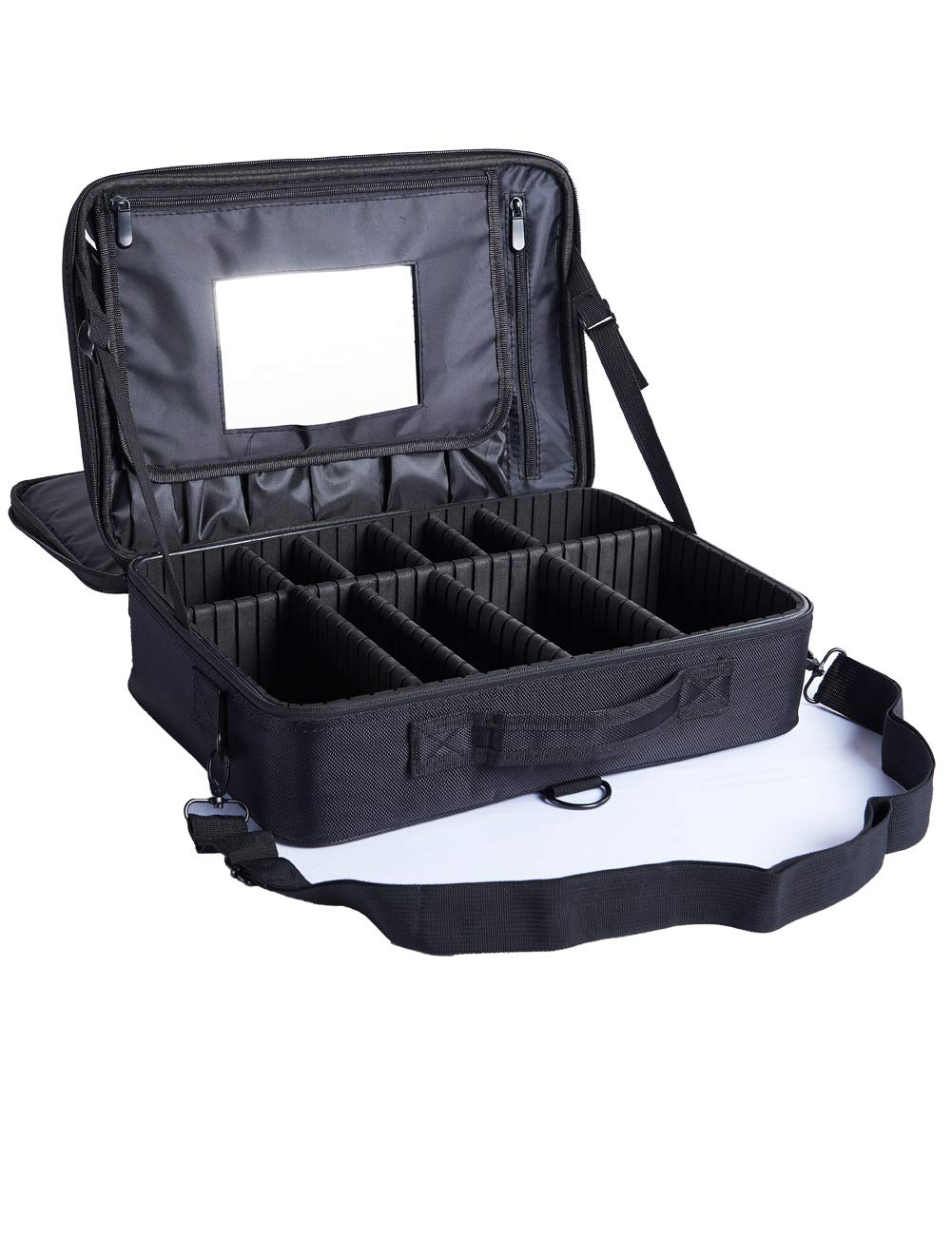 e3f131784950 Makeup case 3 Layers Cosmetic Organiser Travel Makeup Train Case Makeup Bag  with Adjustable Dividers for Cosmetics Makeup Brushes Toiletry Jewellery ...