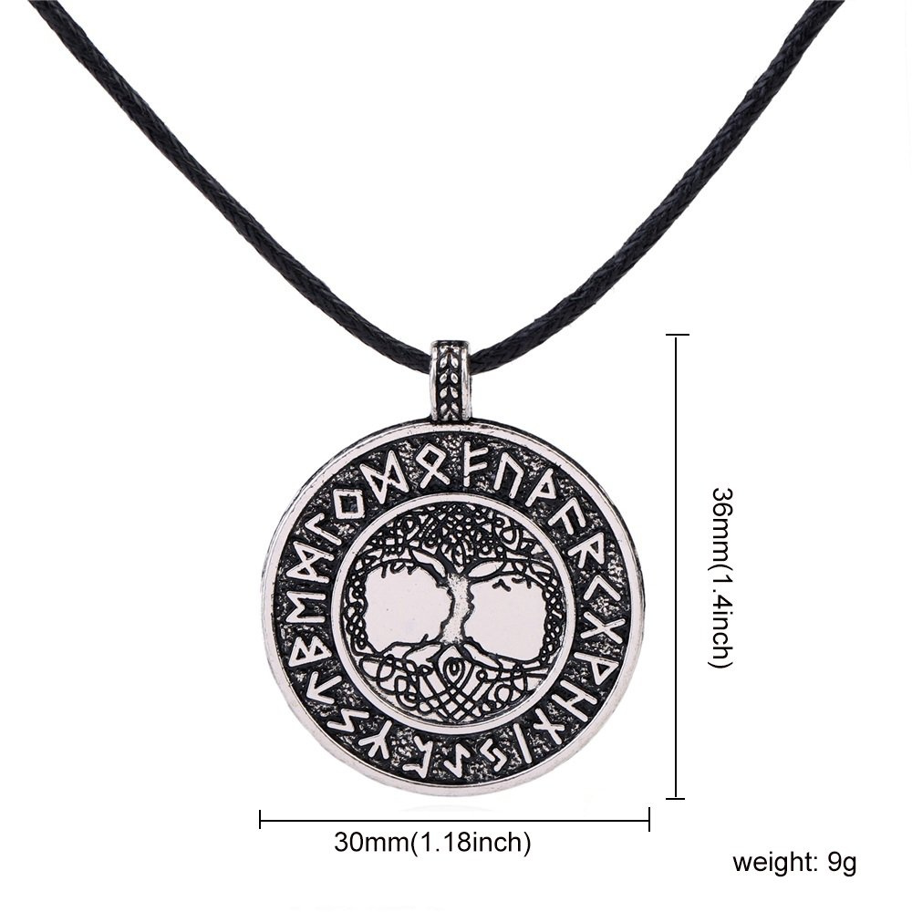 Antique Silver Norse Runes Tree of Life Round Pendant Necklace, Vintage  Viking Jewellery