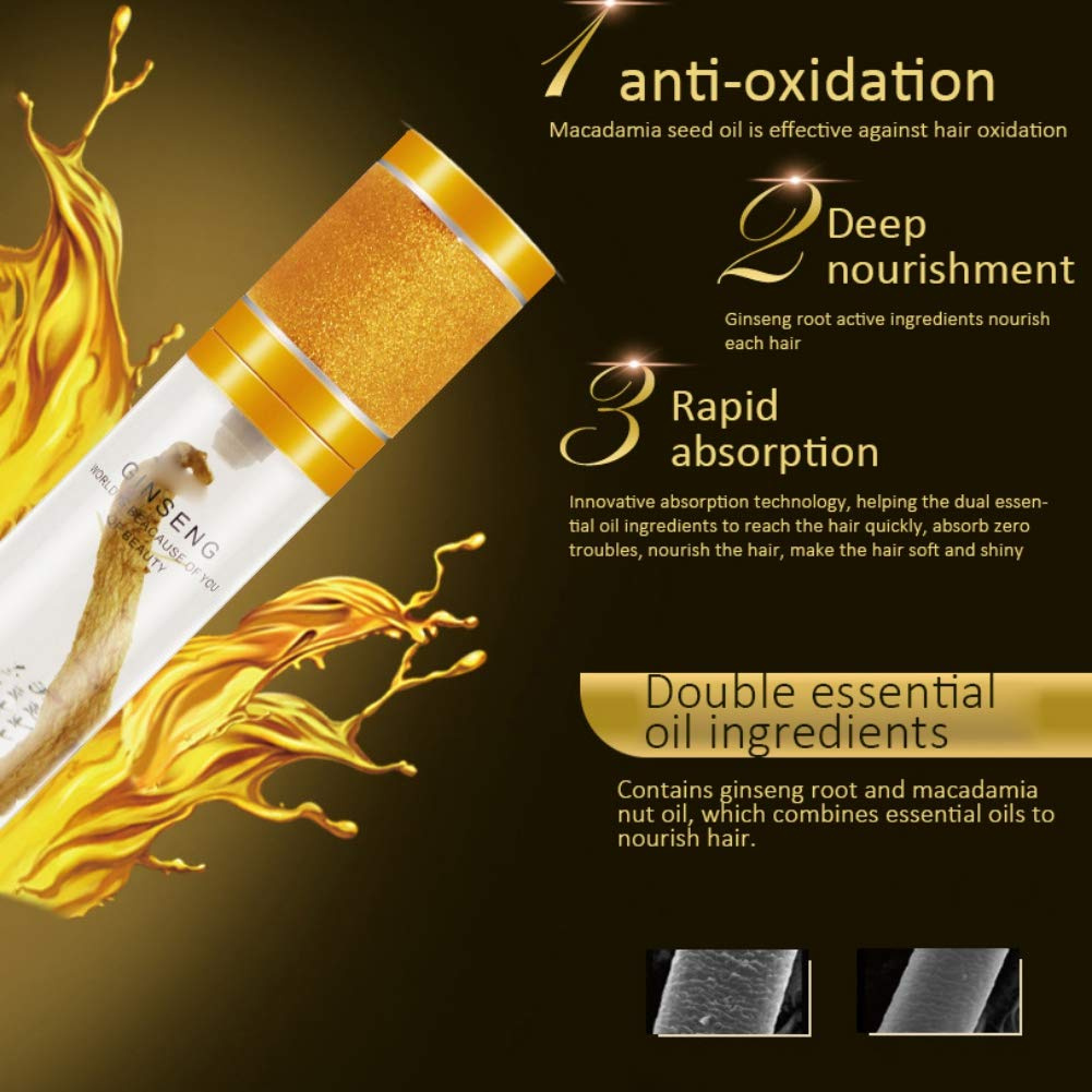 Angmile Natural Ginseng Hair Care Essential Oil Nourishing Hair Root Repair  Damaged Hair Care Product