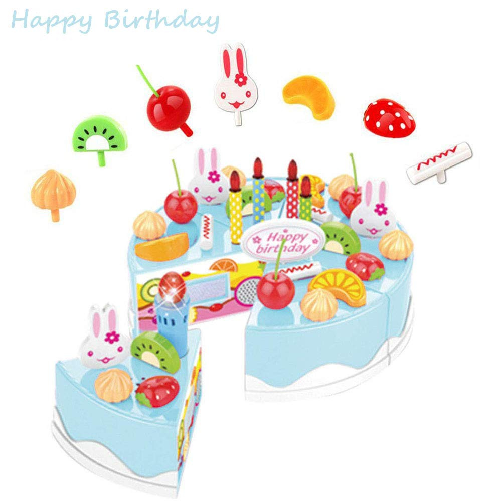 Lychee Kitchen Fun Cutting Birthday Cake Play Set DIY Pretend Food Toy With Candles Knife 38 Pcs Blue By