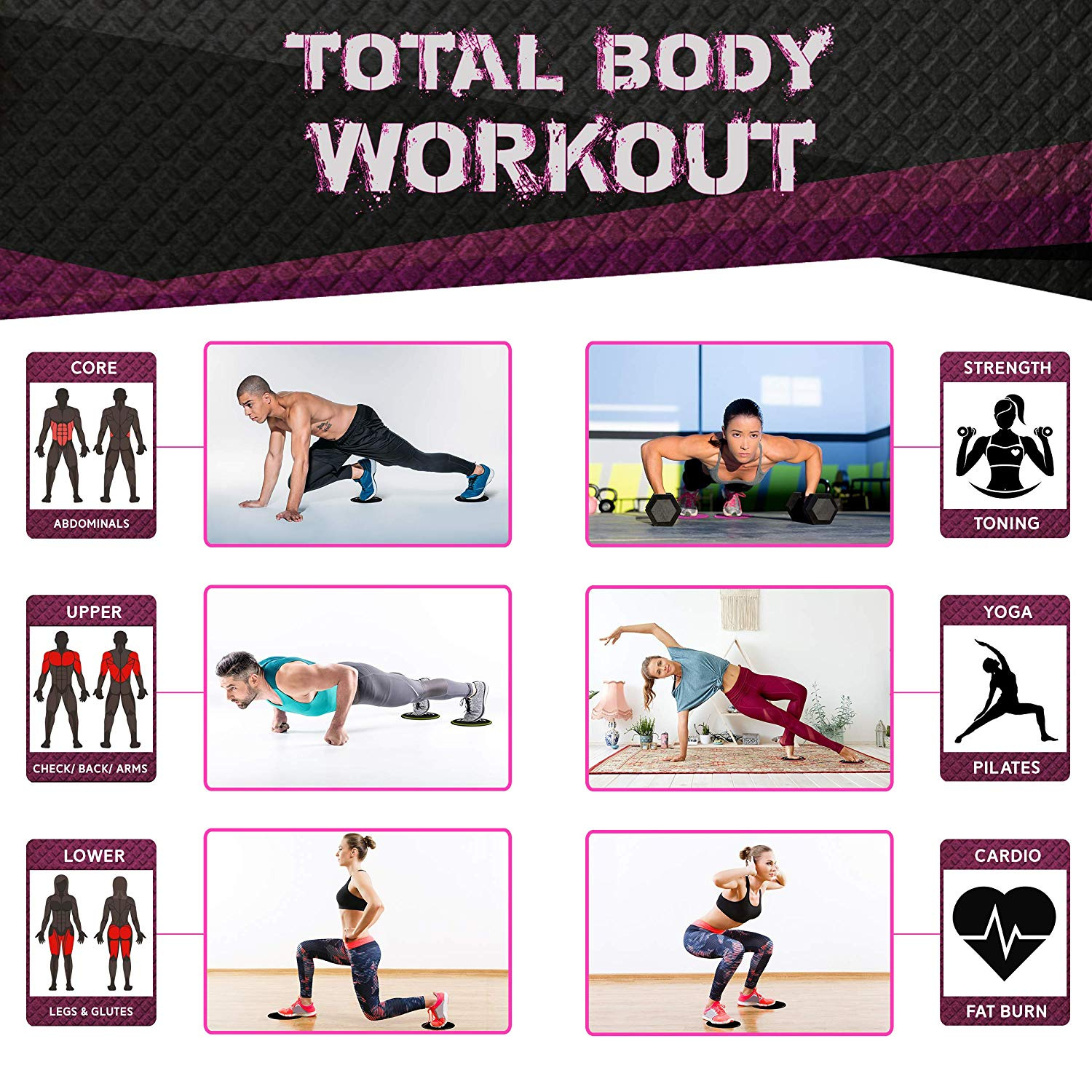 Total Body Gym Exercise Equipment for Home iQinQi Core Exercise Sliders Fitness Workout Sliding Discs Use on Hardwood Floors Travel