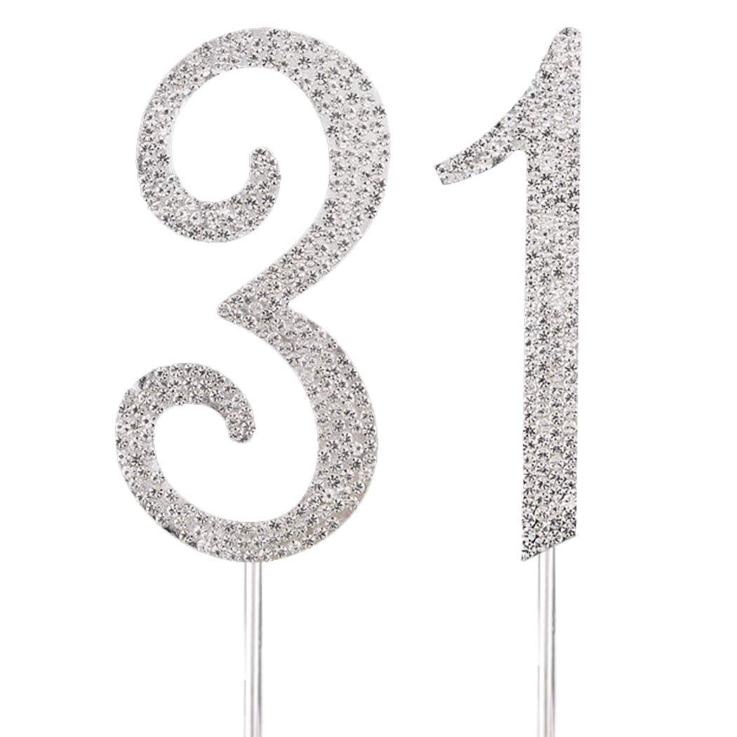 MAGJUCHE Silver 80cm Crystal Cake Topper Number 31 Rhinestones 31st