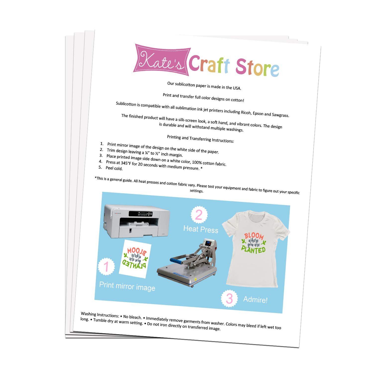 Kate's Craft Store 50 Sheets 22cm x 28cm Sublimation Paper
