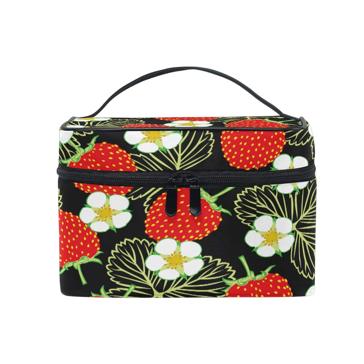 9e9cb7b40ad3 CPYang Travel Makeup Bag Strawberry Flower Leaves Portable Cosmetic Case  Organiser Toiletry Bag Pouch Makeup Train Case for Women Girls