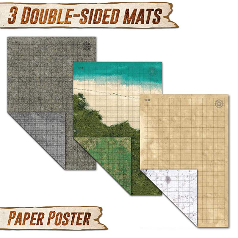 Battle Grid Game Mat - 3 Pack Double Sided 36 x 24 - Portable DND RPG Table  Top Role Playing Map - Dungeons and Dragons Starter Set - Tabletop Gaming