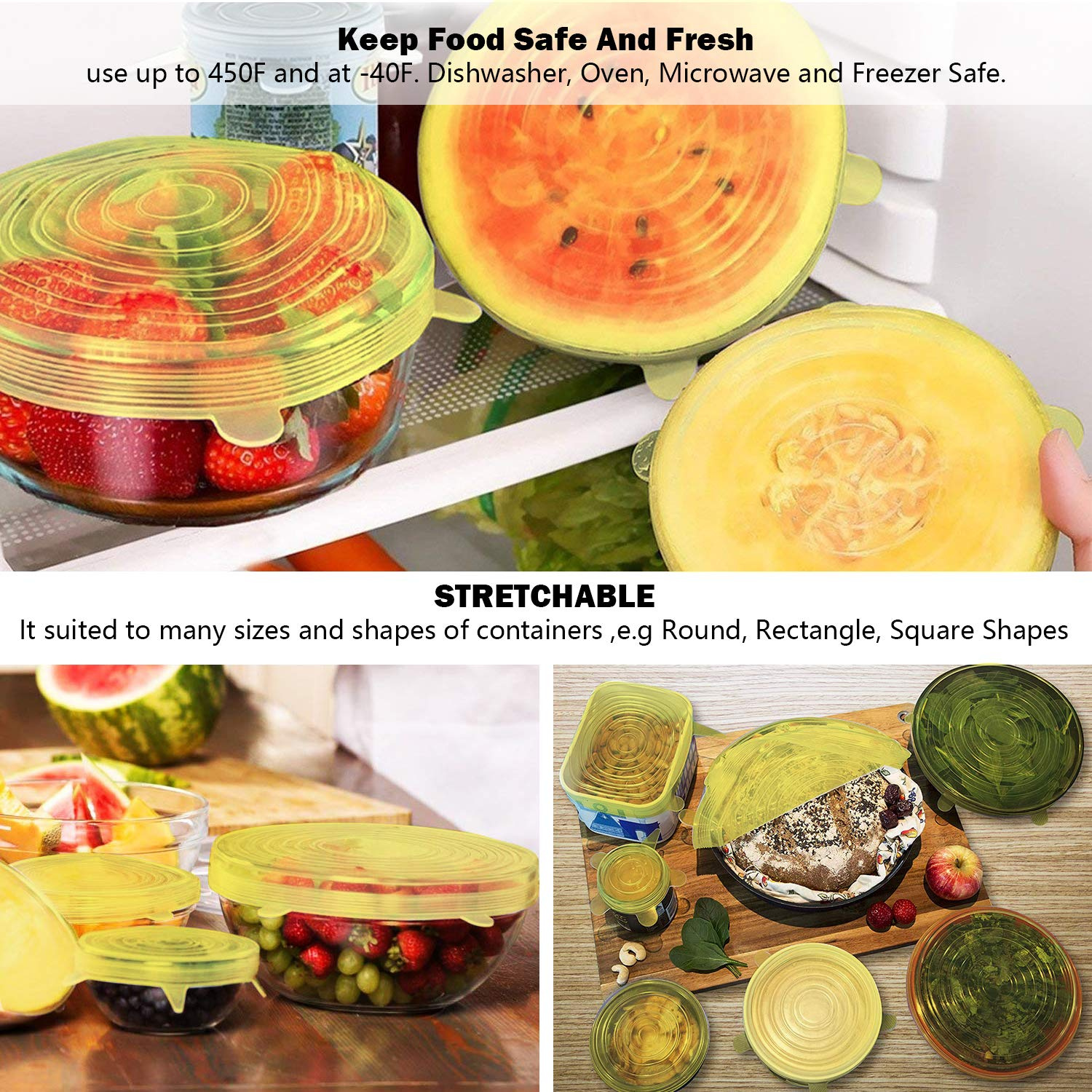 24PCS Elastic Food Covers Lids For Fruit Bowls Food Cover Fresh Protection Set storage holder