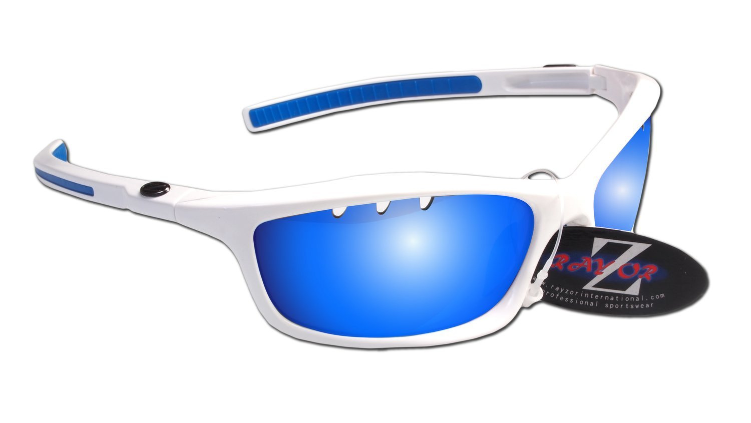 ee9374a5b514 Rayzor Professional Lightweight UV400 White Sports Wrap Cricket Sunglasses,  With a 1 Piece Vented Blue Iridium Anti-Glare Lens. by Rayzor - Shop Online  for ...