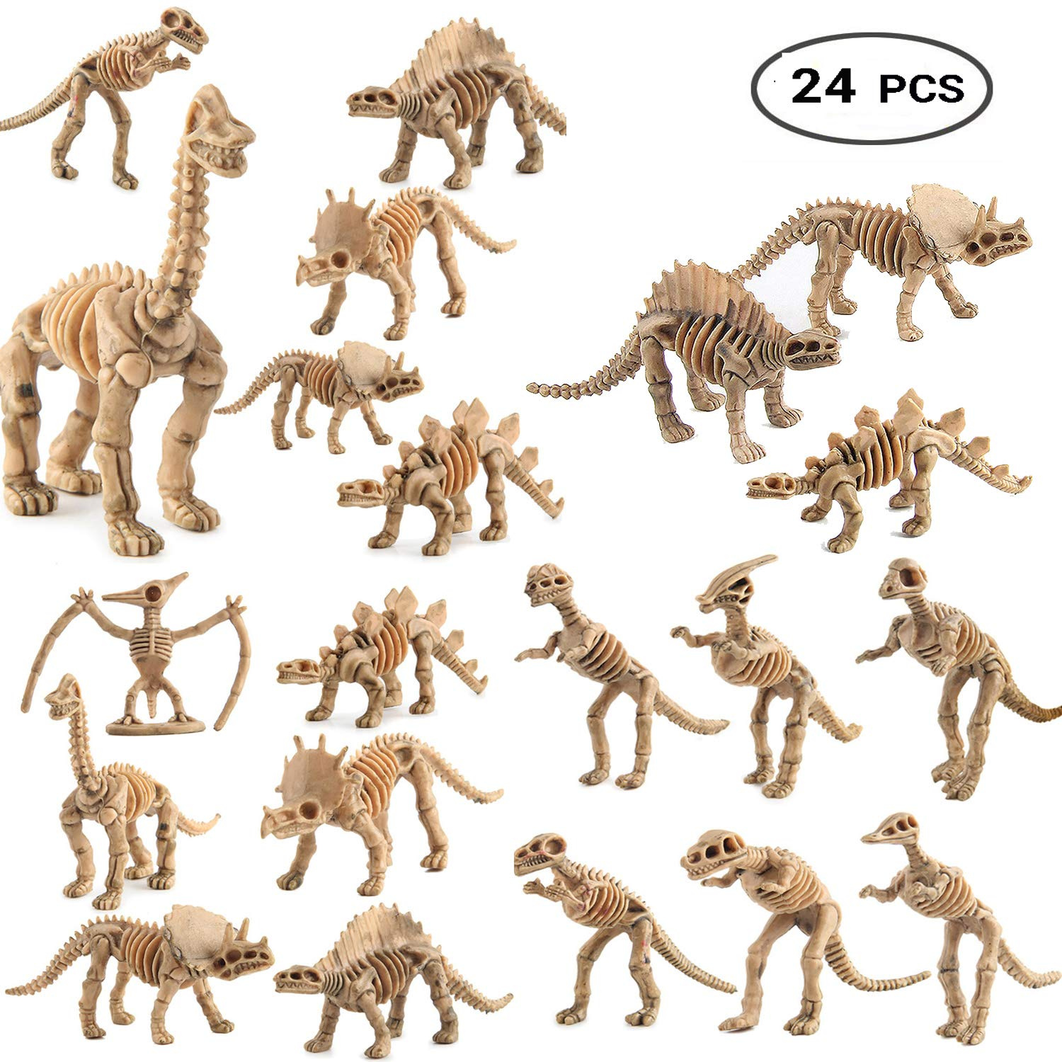 WedFeir 24pcs Dinosaur Fossil Skeletons, 9 4cm Assorted Figures Dino Bones,  Educational Gift for Science Play, Dino Sand Dig, Party Favour &