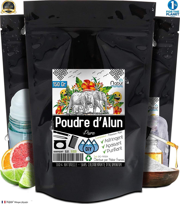 Alum powder 150 Gr Natural - NABÜR - DIY for Deodorant, Pure Potassium Alum
