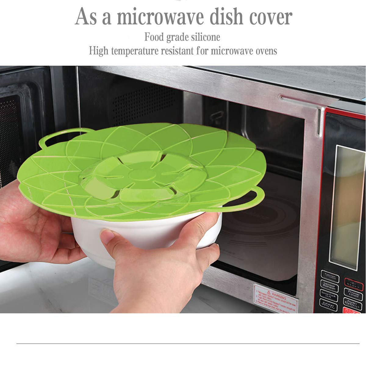2 PACK Spill Stopper Lid Cover No Boil Over Lid Pot Cover Silicone Large /& Small
