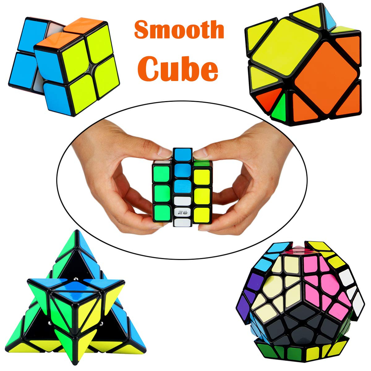 5d983a91df24 Dreampark Speed Cube Set, [5 Pack] Magic Cube Bundle - 2x2x2 3x3x3 Pyramid  Megaminx Skew Cube Smooth Sticker Cubes Collection Puzzle Toy for Kids