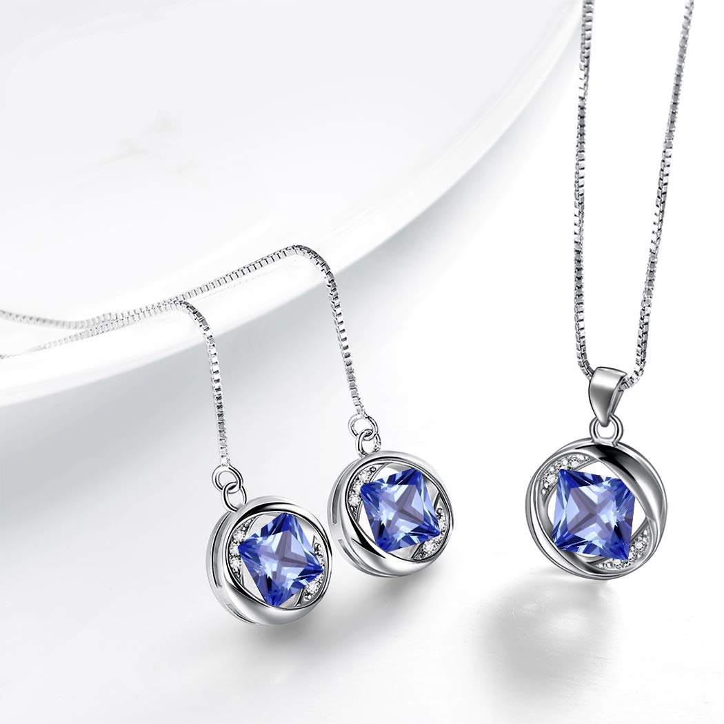 Aurora Tears Jewellery Birthstone Necklace Earrings 925 Sterling Silver  Pendant Birth Stone Gift for Girls and Women