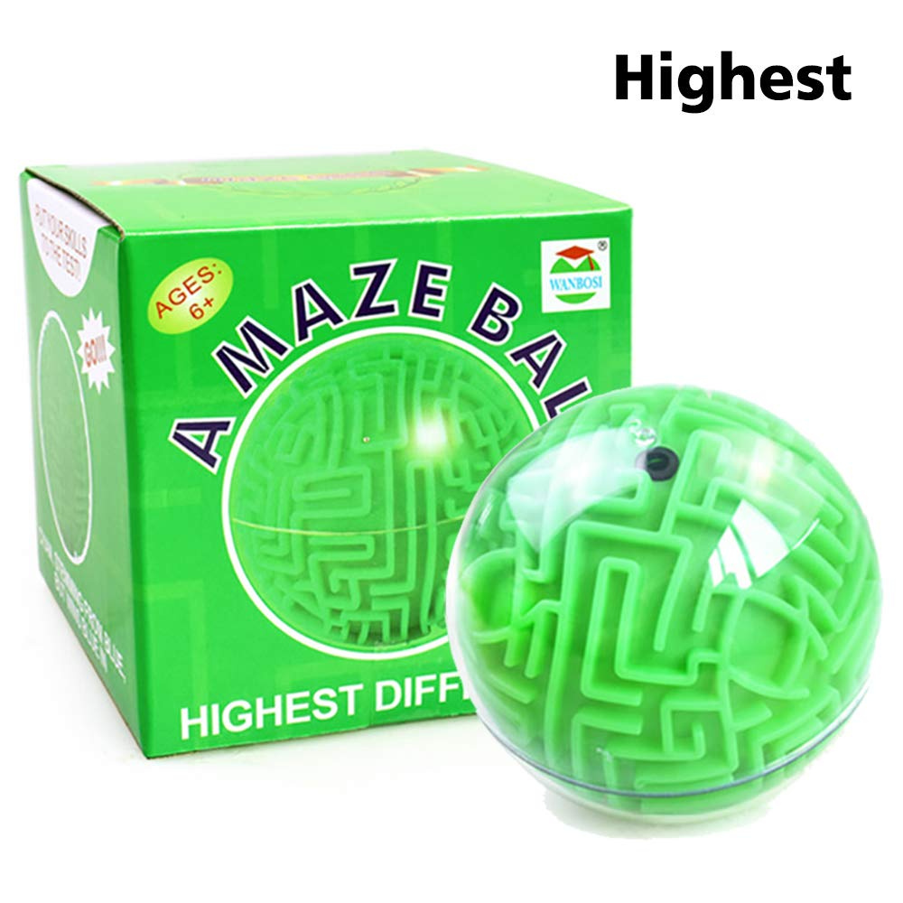 WANBOSI Magic 3D Maze Ball Puzzle Cube Labyrinth Brain Teaser Puzzle Game  Three-dimensional Maze Toy for Kids (Green)