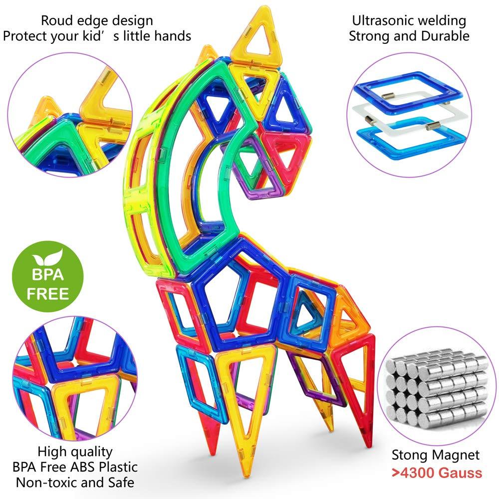 Jasonwell Magnetic Building Blocks Upgraded - Magnet Blocks Set Kids  Magnetic Toys Preschool Creative Educational Construction Stacking Kit  Building
