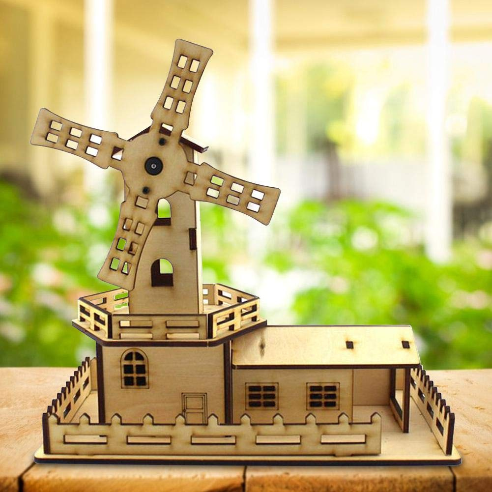 Zerodis Assembly Model Toy Diy Assembled Wooden Windmill Playhouse Toy Electric Rotation Model With Music And Light Student Science Experiment