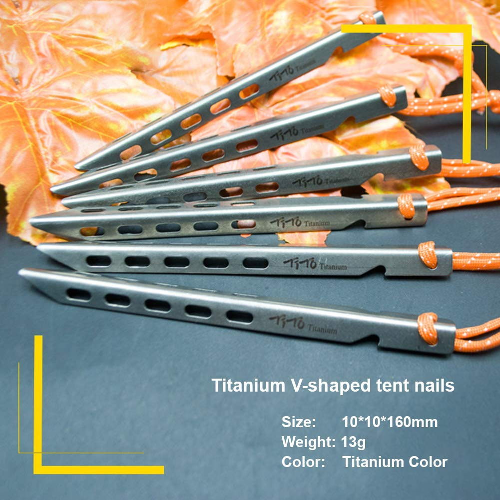 Very Strong Will not be Deformed DerBlue Ultra Light Titanium Alloy Tent Pegs Stakes,100/% Titanium Alloy Material