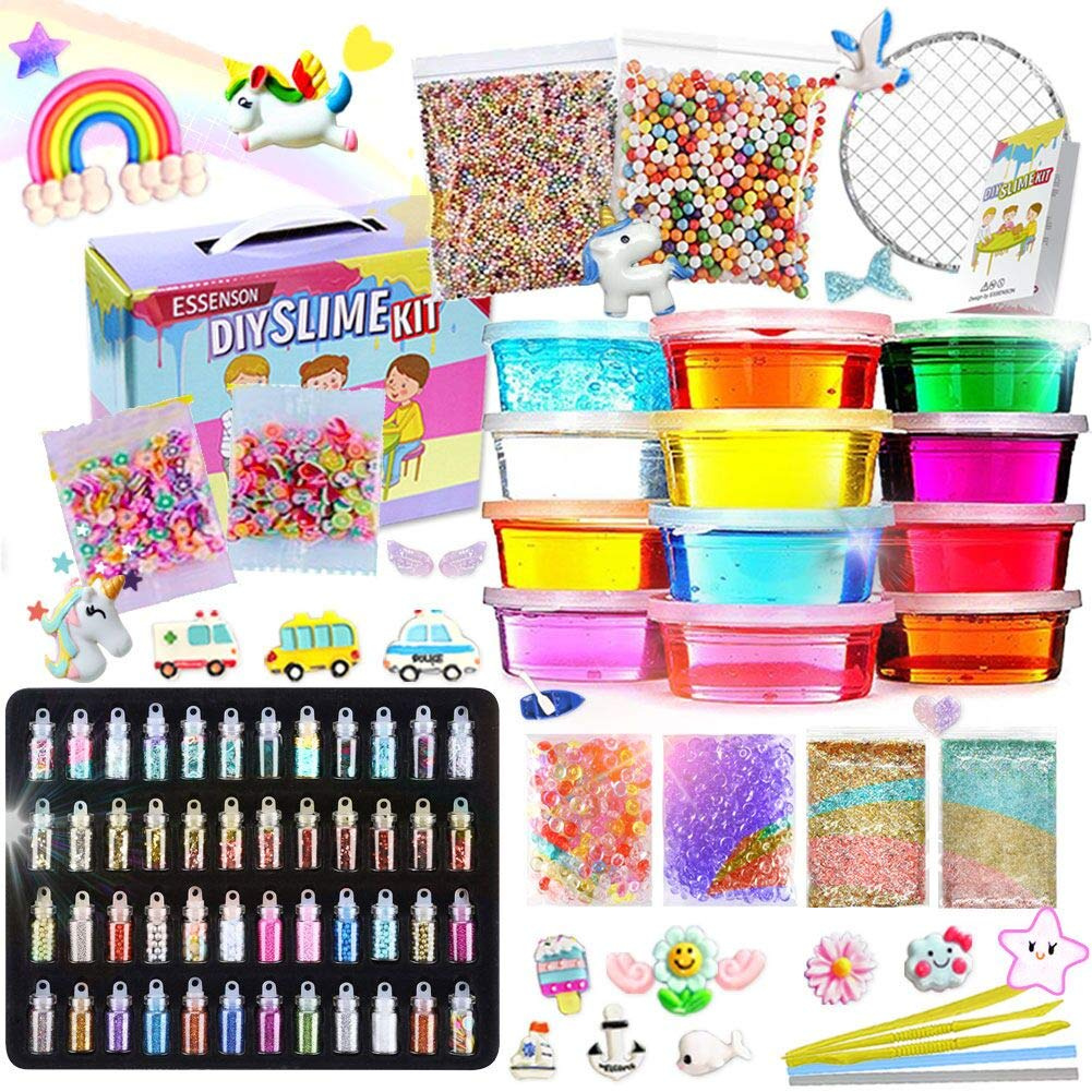 Slime Kit - Slime Supplies Make Your Own Slime, Slime Making Kit for Kids,  Includes Crystal Slime, Glitter Sheet Jars, Unicorn Slime Charms, Foam