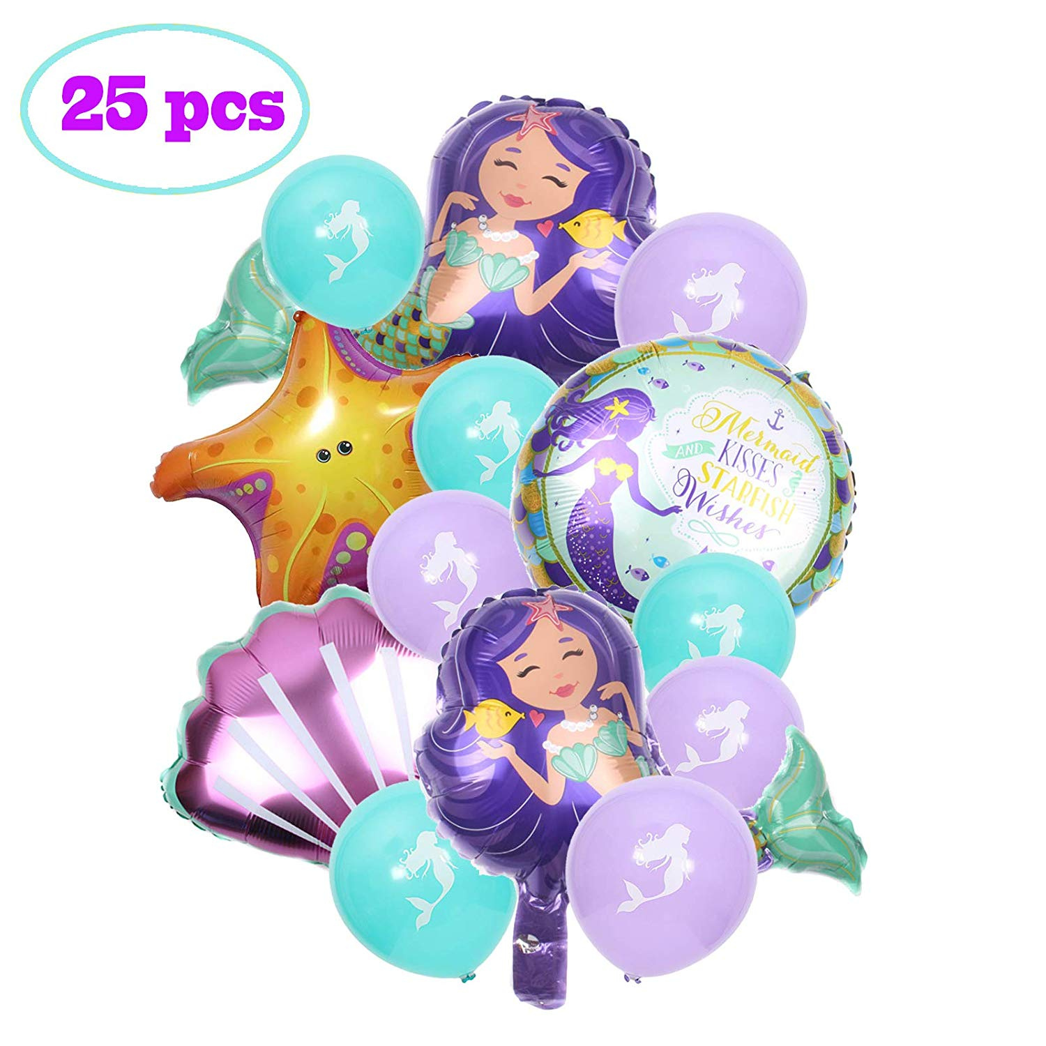 Party Nice 25 Pcs Mermaid Balloons Birthday Supplies Mylar For Under The Sea Baby Shower Decorations