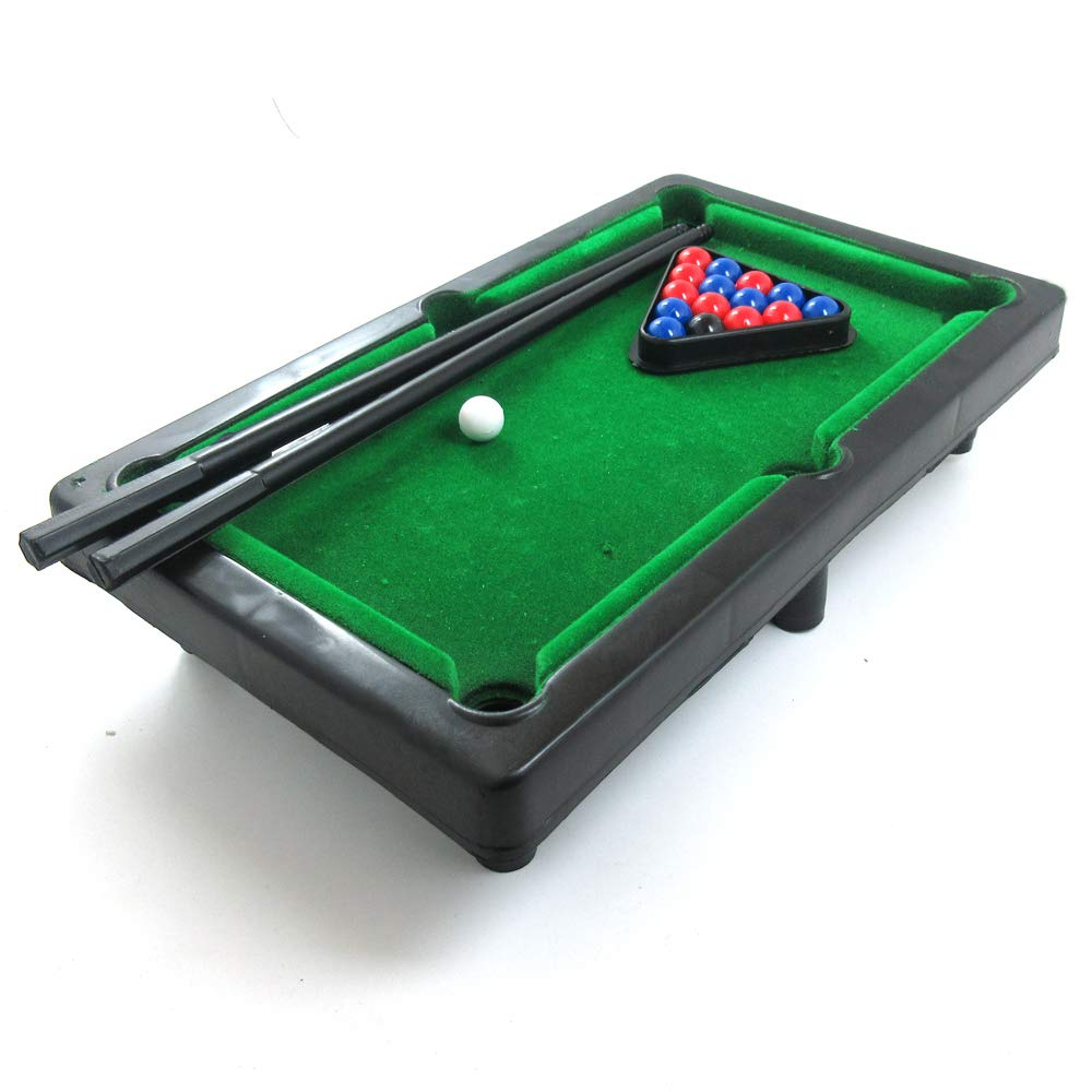 Power Ling CC Mini Pool Table Tabletop Desktop Billiards Snooker Toy Game  with 2 Sticks, 16 Balls Home Office Desk Stress Relief Games