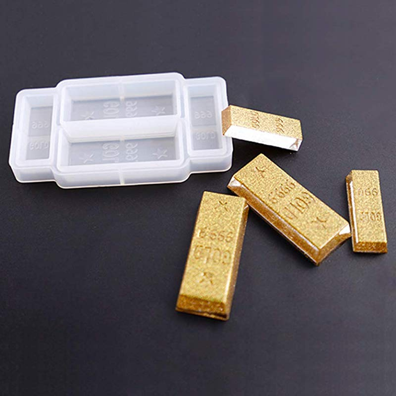 Silicone Mould DIY 3D Gold Bar Funny Birthday Cake Fondant Decoration  Realistic Simulation Epoxy Resin Crafts Jewellery Making Tools