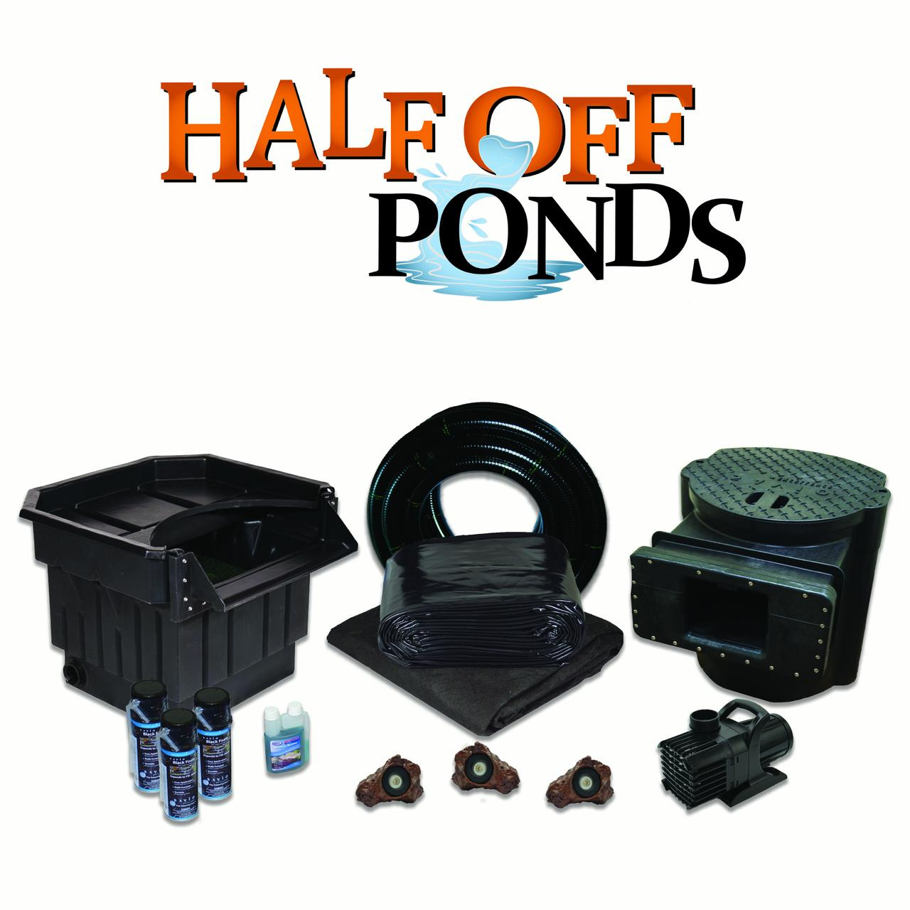 Half Off Ponds PVCXLH6 - 6100 Complete Water Garden and Koi Pond Kit, with  60cm Waterfall, 6 1m x 9 1m PVC Liner
