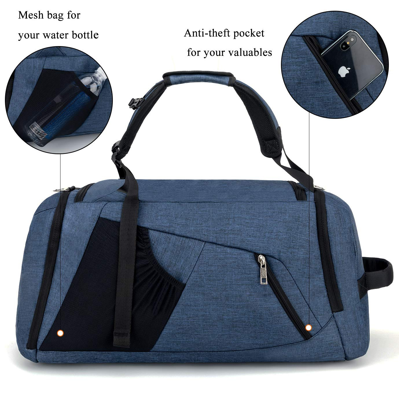 1a67aaab462a BonClare Sports Duffle Bag with Shoes Compartment and Wet Pocket, 42L  Waterproof Gym Bag for Men and Women, Durable Travel Duffel Bag with  Shoulder ...