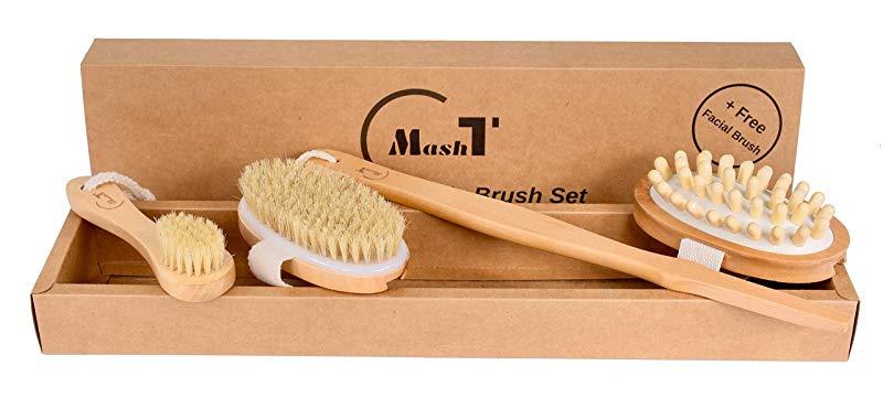 fd5ed7387eaf Dry Brushing Body Brush Set for Exfoliating Dry Skin | Premium 100% Natural  Boar Bristle Body Brush Set for Glowing Skin | With Free Face Brush | Long  ...