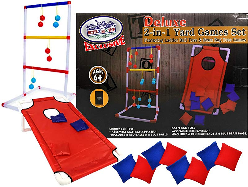 Fine Mattys Toy Stop Deluxe 2 In 1 Yard Games Set Featuring Ladder Ball Toss Bean Bag Toss Games With Storage Bags Ncnpc Chair Design For Home Ncnpcorg